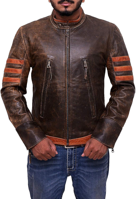 Distressed Lambskin Waxed Motorcycle Leather Jacket Trendhoop Brown Leather Jacket Men for Bikers