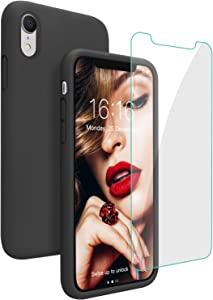 JASBON Case for iPhone XR, Soft Liquid Silicone iPhone XR Case with Tempered Glass Cover for iPhone XR-Black