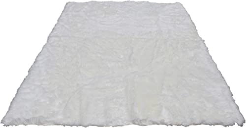 Silky Super Soft White Faux Sheepskin Shag Rug Faux Fur Machine Washable Great for Photography Decor Bedroom Real Look Without Harming Animals 8 x10 Rectangle, White