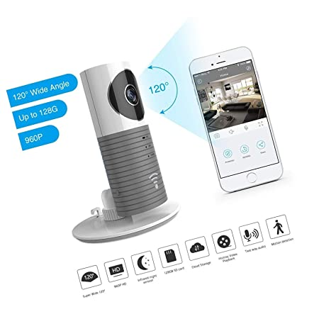 Security IP Camera, 3T Clever Dog 2nd Generation 120 Wide Angle Night Vision Camera Security Wireless Puppy Cam for Phone