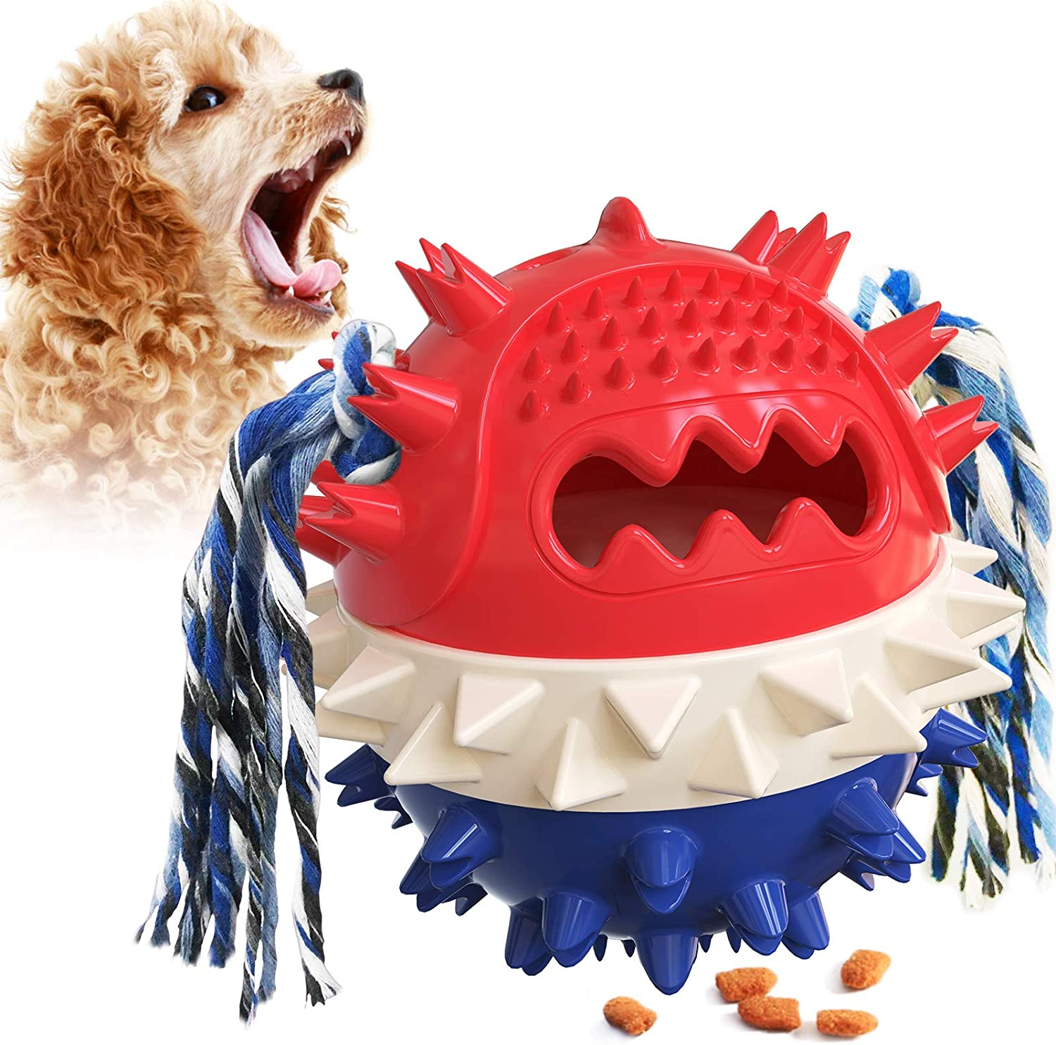 Sakiway Interactive Dog Chew Toys Balls, Indestructible Treat Ball for Aggressive Chewers, Cleaning Molars Teeth , Food Leaking Dispenser Toys, Squeaking Rubber Toy, Slow Feeder Balls, Pet Supplies.