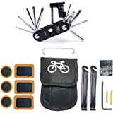 WOTOW Bike Repair Set Bag Bicycle Multi Function 14 in 1 Tool Kit Hex Key Wrench Tire Patch Lever (No Glue Included)
