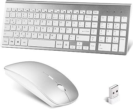 Juego de teclado inalámbrico y ratón, ratón ergonómico, teclado QWERTZ fino, 2,4 G, conexión inalámbrica a través del receptor USB Unifying, para PC, ...