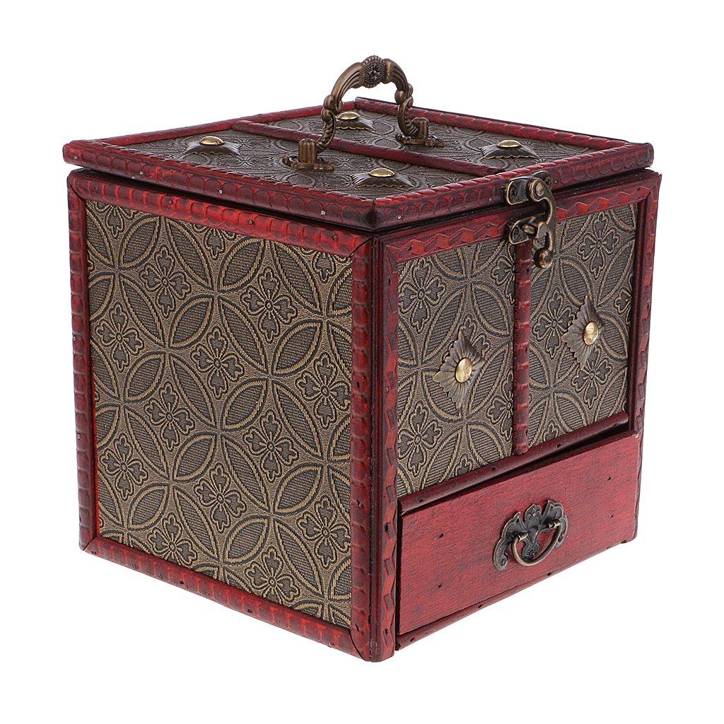 Baoblaze Estuche Organizador para Almacenamiento de Joyería Caja de Madera Color Rojo Estilo Vintage Retro Decoración Adorno para Tocador