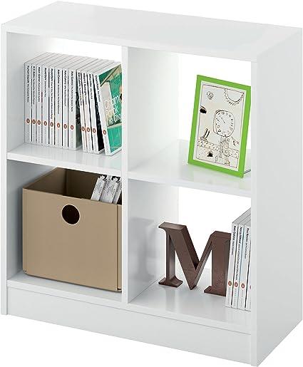 Estantería librería Biblioteca pequeña y Abierta Color Blanco Brillo, 4 estantes para Oficina, despacho o Estudio. 70cm Altura x 66cm Ancho x 32cm ...