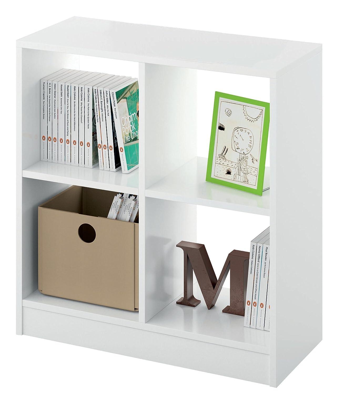 estantera librera biblioteca pequea y abierta color blanco brillo 4 estantes para oficina despacho o estudio 70cm altura x 66cm ancho x 32cm fondo - Estanteria Libreria