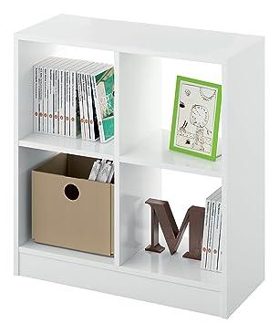Estantería librería Biblioteca pequeña y Abierta Color Blanco Brillo, 4 estantes para Oficina, despacho o Estudio. 70cm Altura x 66cm Ancho x 32cm Fondo: ...