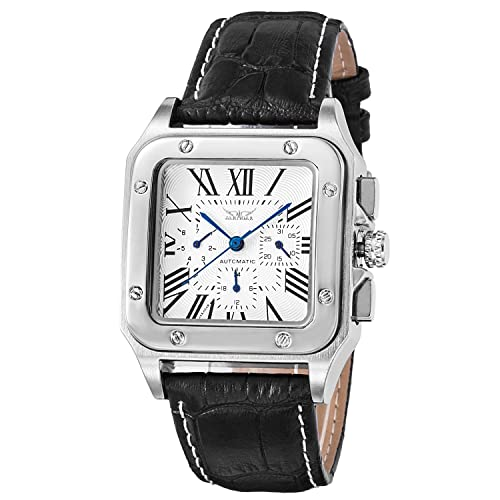 BesTn Men's Mechanical Wrist Watch Automatic Silvery Black Alloy Dial Leather Band Roman Numerals Multipurpose Luxurious Fashionable