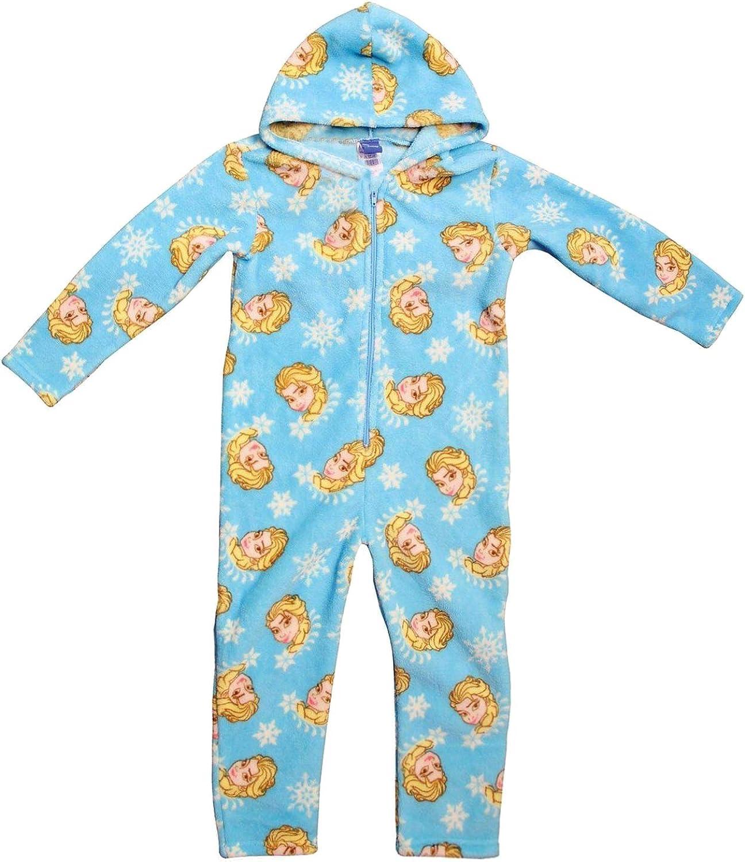 Disney Girls Frozen Onesie Kids Elsa Hooded Zip Soft Fleece Pyjamas Age 2-3 Yrs