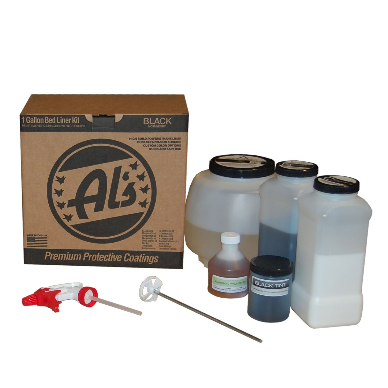 Al's Liner ALS-BL Black Premium DIY Polyurethane Spray-On Truck Bed Liner Kit, With FREE Adhesion Promoter and Small Mix Paddle