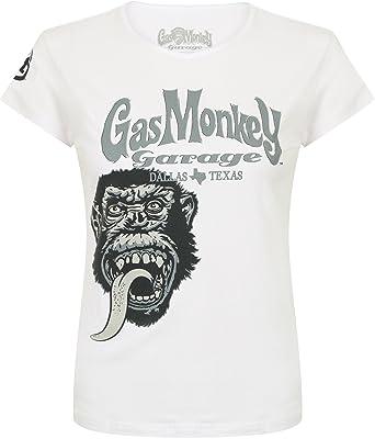 6c0f0efc2 Gas Monkey Garage T-Shirt Women Tonal Monkey White-XXL: Amazon.co.uk:  Clothing
