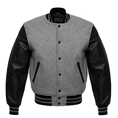 Letterman Baseball Varsity Jacket Black Leather Sleeves at Amazon ...