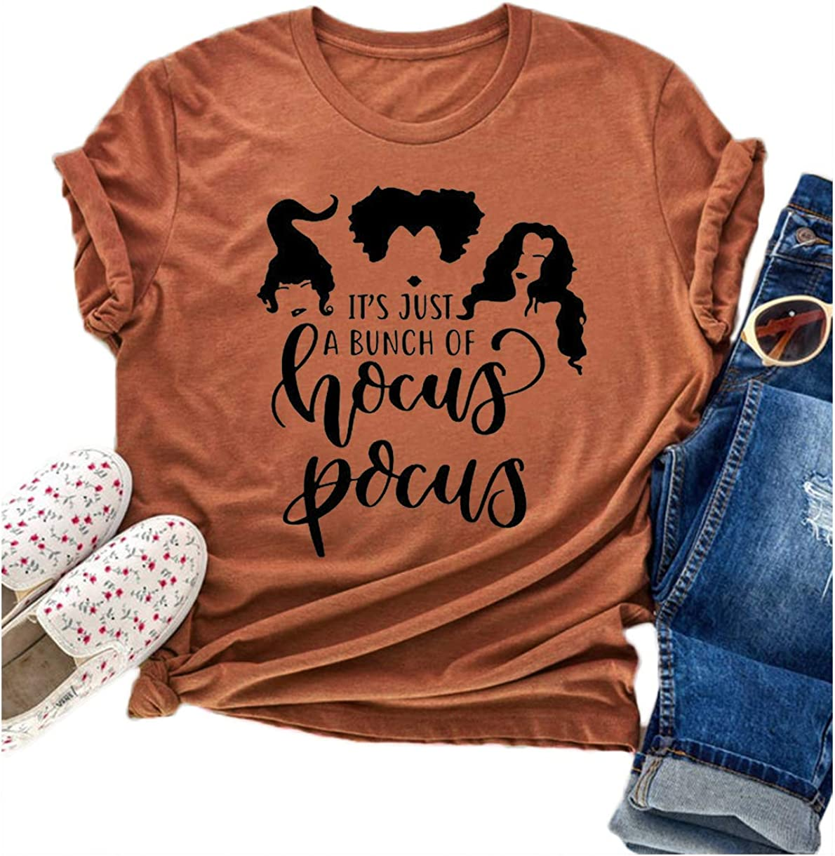 Tuwbue Hocus Pocus Shirt Womens Sanderson Sisters Shirts Halloween Costumes for Women