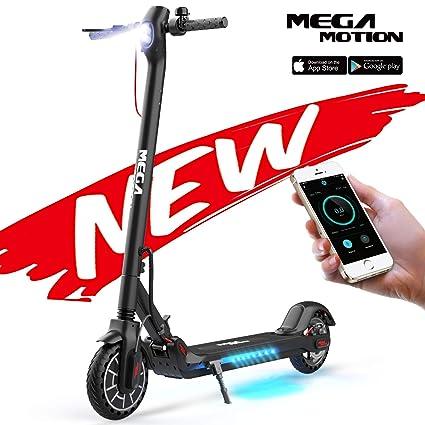 Mega Motion E- Scooter Portátil Patinete Eléctrico Plegable de 8.5 Pulgadas con Bluetooth, Velocidad de hasta 30 km/h, Pantalla LCD, Luces Traseras y ...