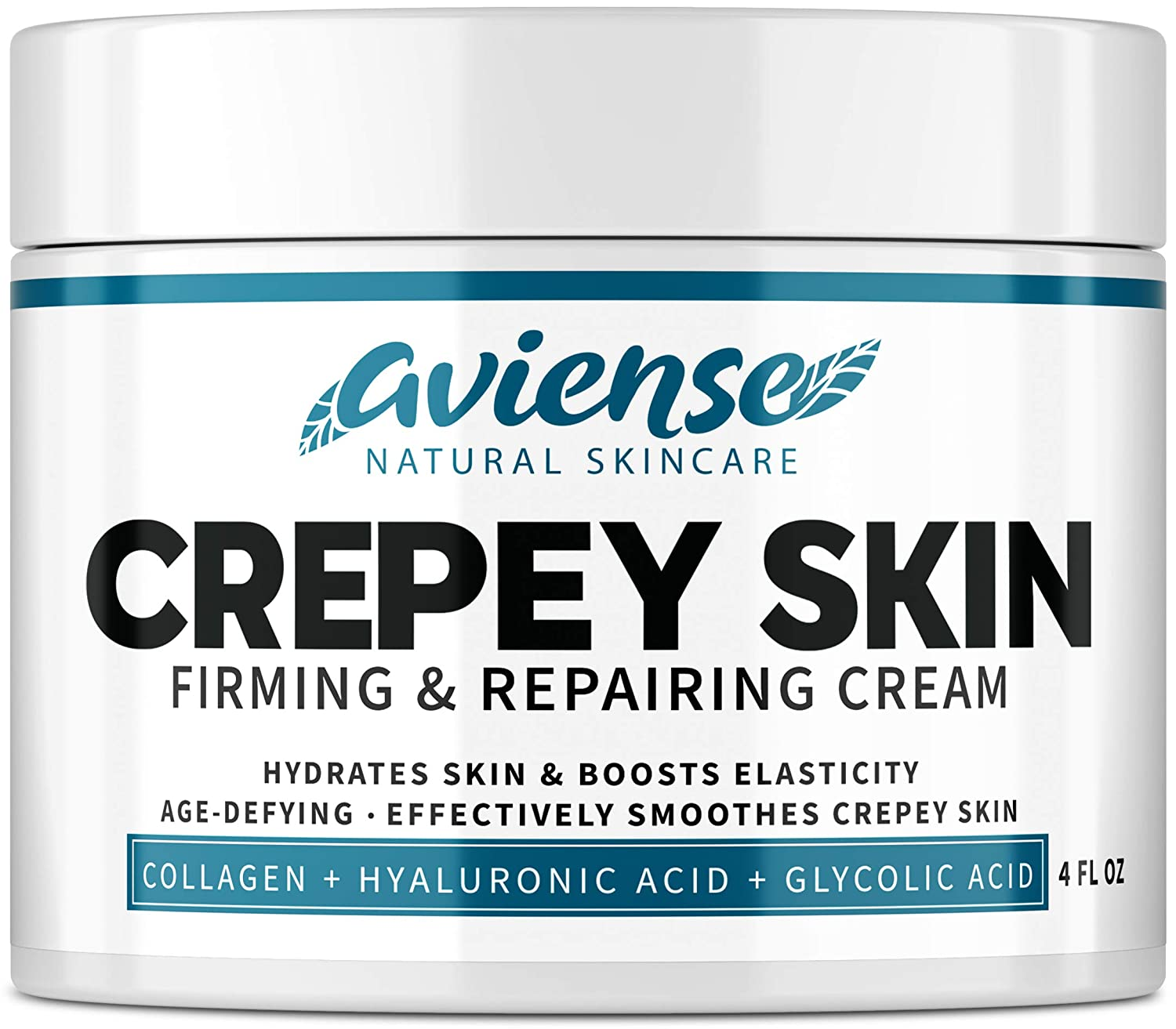 Crepey Skin Treatment - Sagging Skin Tightening for Body & Face - Made in USA - Neck & Decollete Anti-Wrinkle Chest Cream - Anti-Aging & Firming Cream with Glycolic Acid, Collagen & Hyaluronic Acid: Beauty
