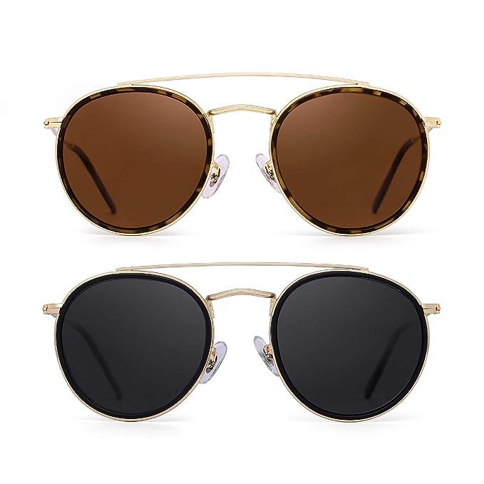 Gafas de Sol Polarizadas Redondas Marco de Metal Lente Circulo Plano Anteojos Mujer Hombre