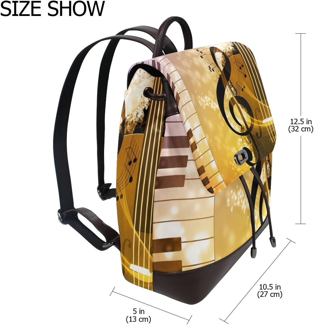 KUWT Piano and Violin Music Notes PU Leather Backpack Photo Custom Shoulder Bag School College Book Bag Rucksack Casual Daypacks Diaper Bag for Women and Girl