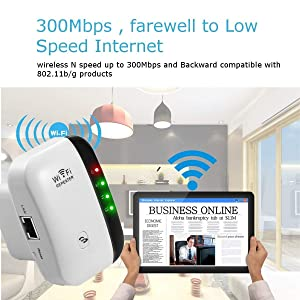 300 Mbps WiFi Extender Wireless-N Repeater WiFi Booster Network Adapter Enhance Signal Strength Access Point Full Signal Coverage Repeater/AP Modes Comply 802.11 b/g/n with WPS(US Plug