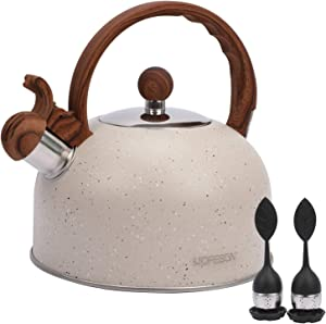 Tea Kettle for Stove Top Whistling,2.8 Quart Teapot for Stovetop Wooden Anti-Heat Pattern Handle With Loud Whistle, Food Grade Stainless Steel Tea Pot Water Kettle With 2 Tea Leakers