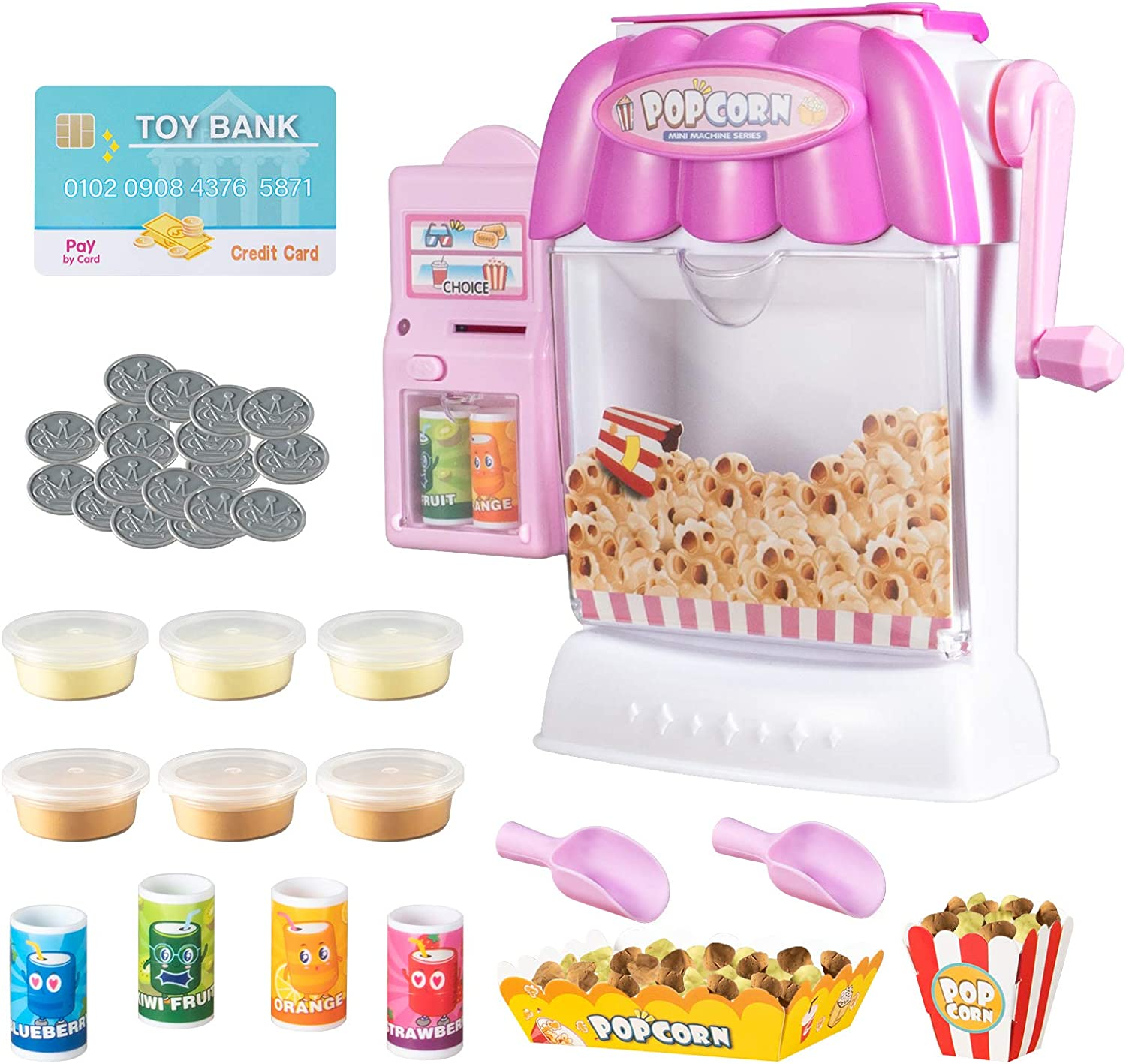 Ainek Toy Popcorn Maker - Hand Cranked Popcorn & Mini Vending Machine Toy, Creative Birthday Gift Toy for Kid Boys and Girls of 3 4 5 6 7 Year Old