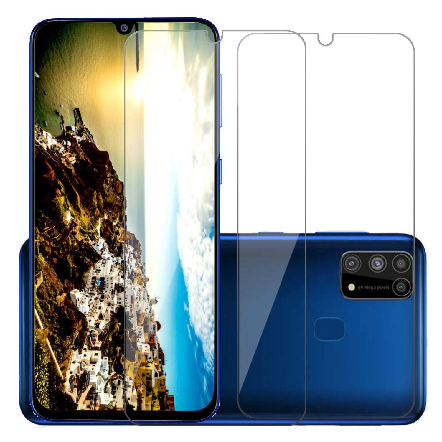POPIO Full Screen Coverage Tempered Glass for Samsung Galaxy M31/M21 with Easy Installation Kit (Transparent) - Pack of 2