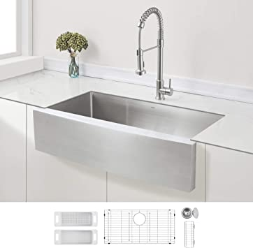 Zuhne 36 Inch Single Bowl Farmhouse Curved Apron Front Stainless Steel Kitchen Sink 16 Gauge Amazon Com