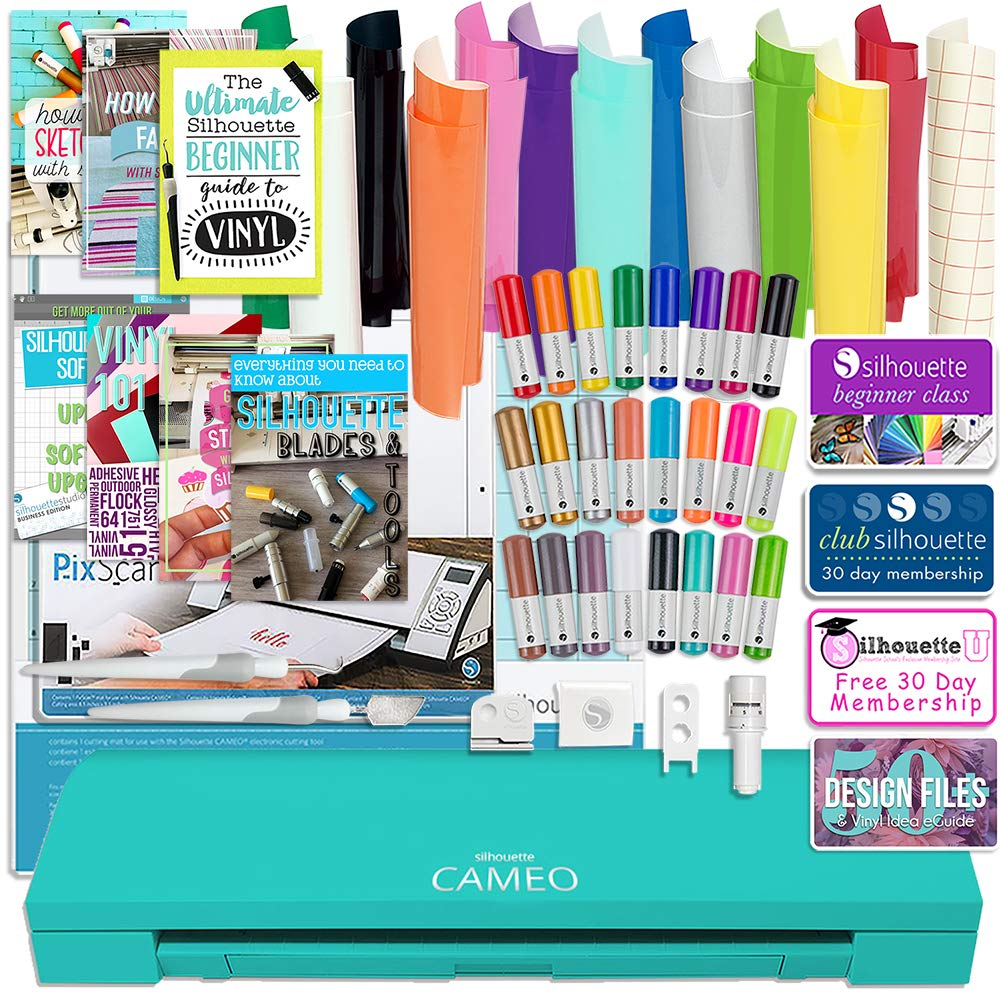 Silhouette Cameo 3 Teal Edition Bluetooth Bundle with 12x12 Sheets of Oracal 651 Vinyl, 24 Sketch Pens, Pixscan Mat, Guide Books, and More Silhouette America