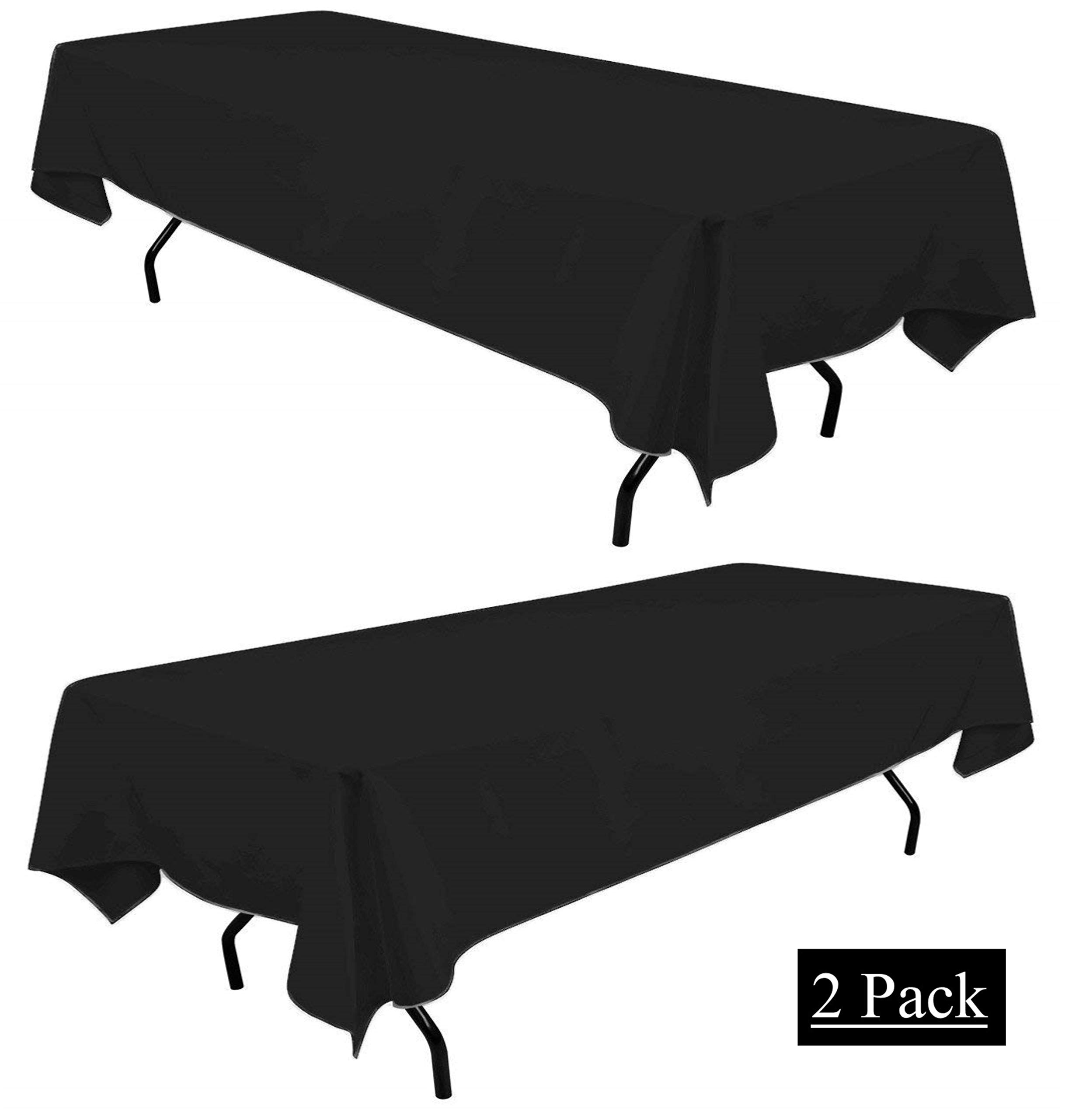 White Classic Black 60x102 Rectangle Tablecloth 6ft - Rectangular Table Cover for Party (60 x 102, 2 Pack) by White Classic