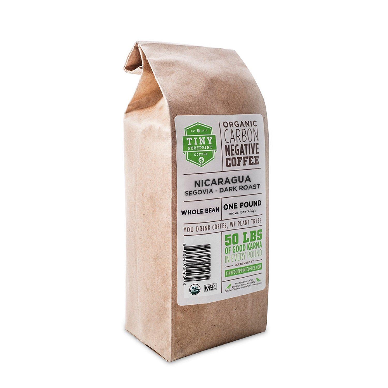 Tiny Footprint Coffee Organic Fair Trade Nicaragua Segovia Dark Roast, Whole Bean Coffee, 1 Pound