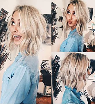 Vebonnie 2018 Wob Uk Wavy Bob Wigs Rooted Hair Blonde Lace Front