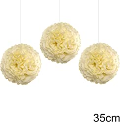 EinsSein 3er Set Pom Poms Large Creme DM 35cm Hochzeit Wedding Pompons Dekokugel