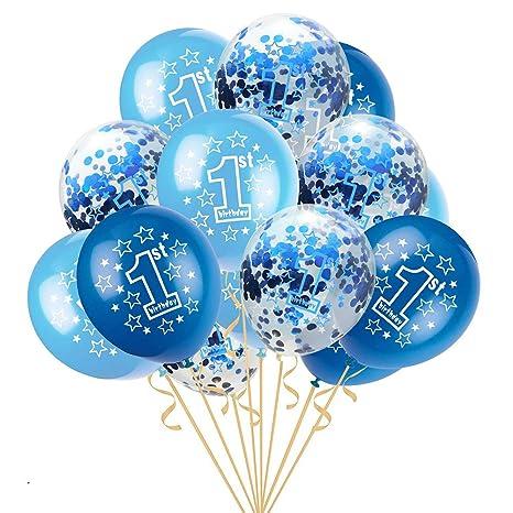Leisial Conjunto de Niños Bebés Globo Látex de 1 año Patrón de Estrella para Decoraciones de Primer Cumpleaños Fiesta Aniversario Boda 12 Pulgadas