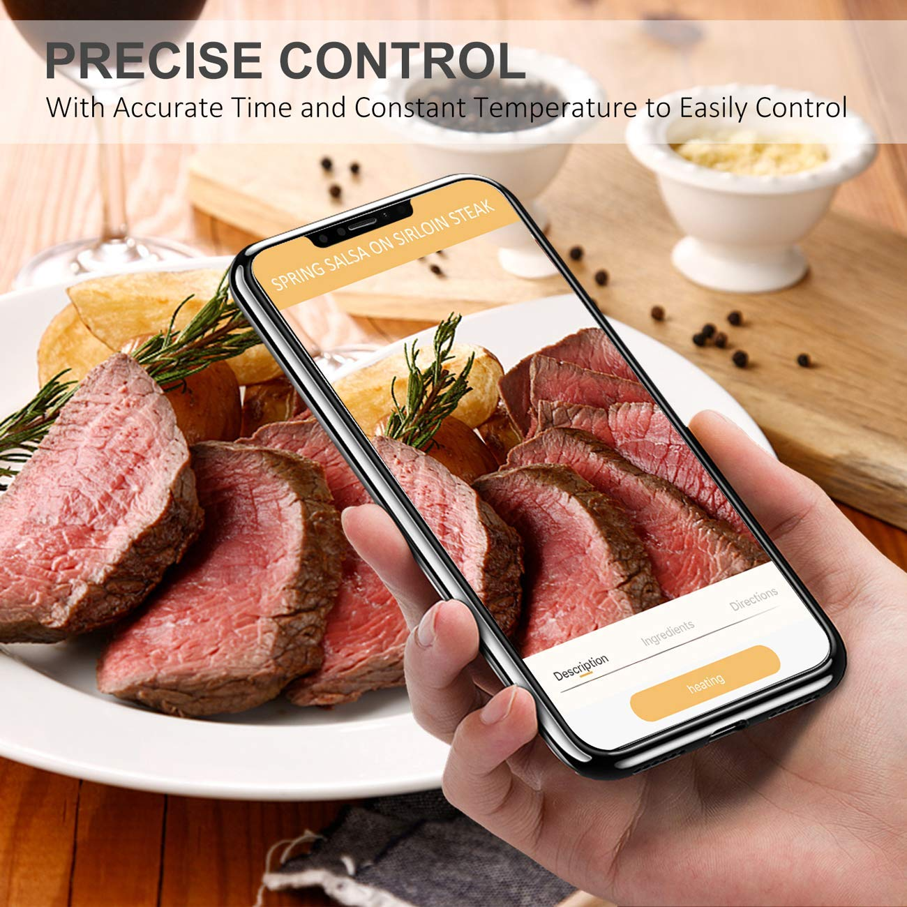 Anmade WiFi Sous Vide 1000W Precision Cooker Immersion Circulator Digital LED Screen IPX7 With Accurate Temperature Timer Control and Recipe For Kitchen