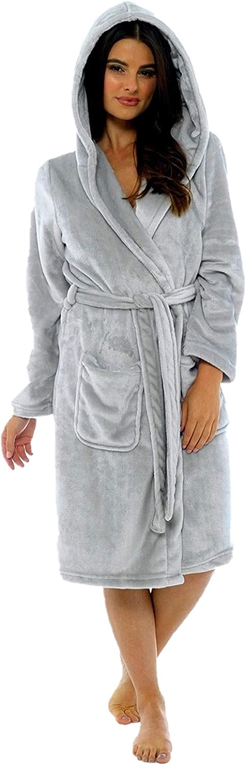 KATE MORGAN Ladies Luxury Soft & Cosy Hooded Dressing Gown