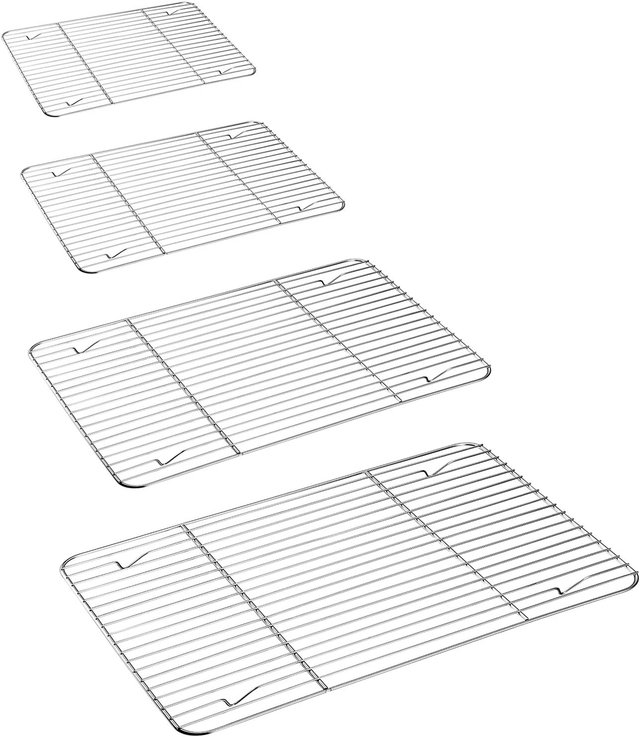 P&P CHEF Cooling Rack Set for Baking Cooking Roasting Oven Use, 4-Piece Stainless Steel Grill Racks, Fit Various Size Cookie Sheets - Oven & Dishwasher Safe