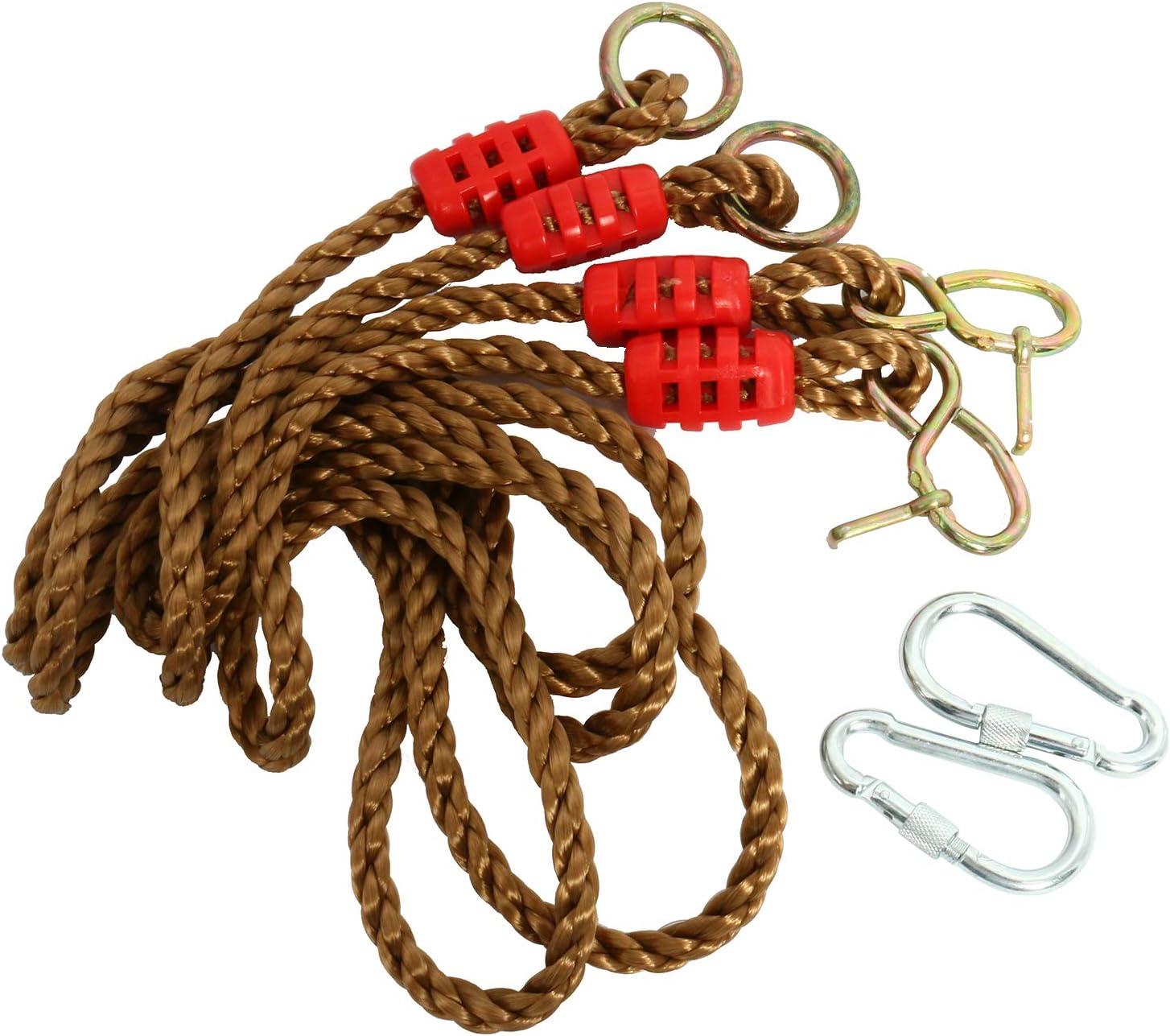 NiceDD Kit per appendere le cinghie della sedia dellamaca delle corde delloscillazione dellalbero con 2 moschettoni per la sostituzione 6ft la regolazione o lestensione