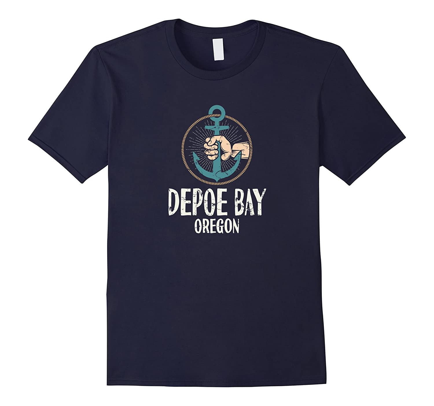 Depoe Bay Oregon Boat Anchor T-Shirt Distressed-FL
