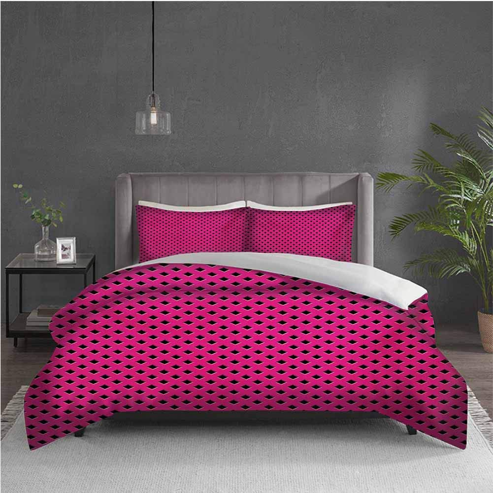 GUUVOR Magenta 3-Pack (1 Duvet Cover and 2 Pillowcases) Bedding Diamond Line Grill Cross Wire Design Logo Digital Motif Image Print Polyester (Twin) Black Fuchsia