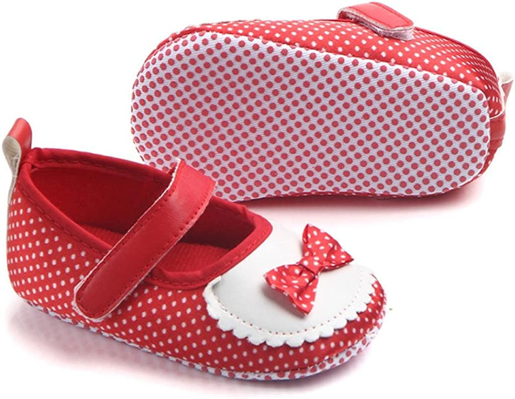 KONFA Toddler Infant Baby Girls Bowknot Dots Single Shoes,for 0-12 Months,Elegant Soft Sole Boots