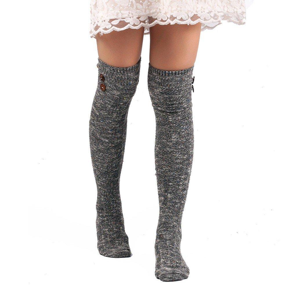 e30ef819e19f2 Challyhope Women's Cozy Soft Leg Warmer Buttons Decor Knee-High Boot Socks  Leggings (Purple, Free): Clothing