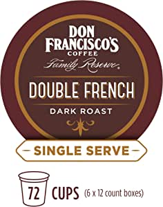 Don Francisco's Double French Dark Roast (72 Count) Recyclable Single-Serve Coffee Pods, Compatible with Keurig K-Cup Brewers