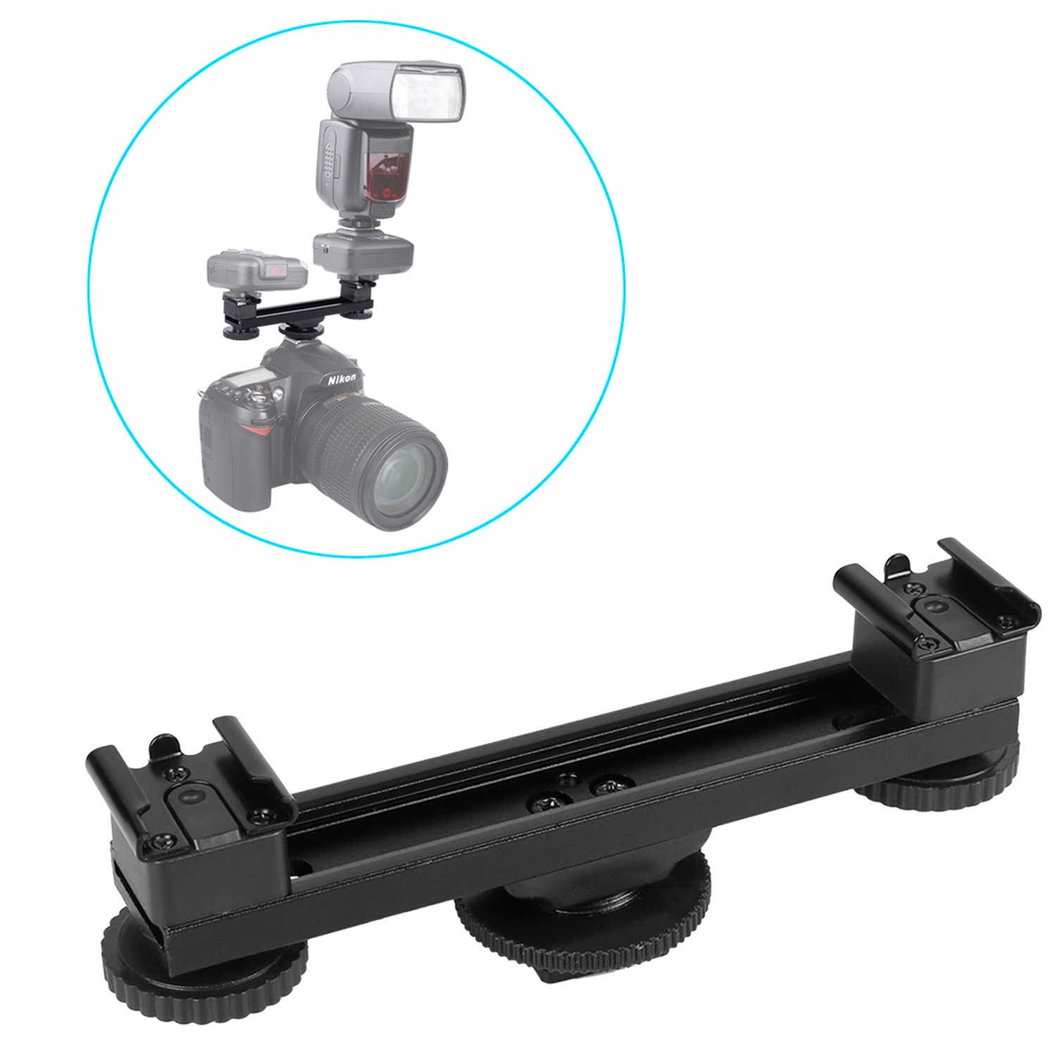 Kamisafe Universal 1 to 2 Hot Shoe Mount Extension Bar Dual Bracket with 1/4'' Thread Holes Compatible with Nikon Canon Sony DSLR Camera Camcorder DV Flash LED Video Light Microphone