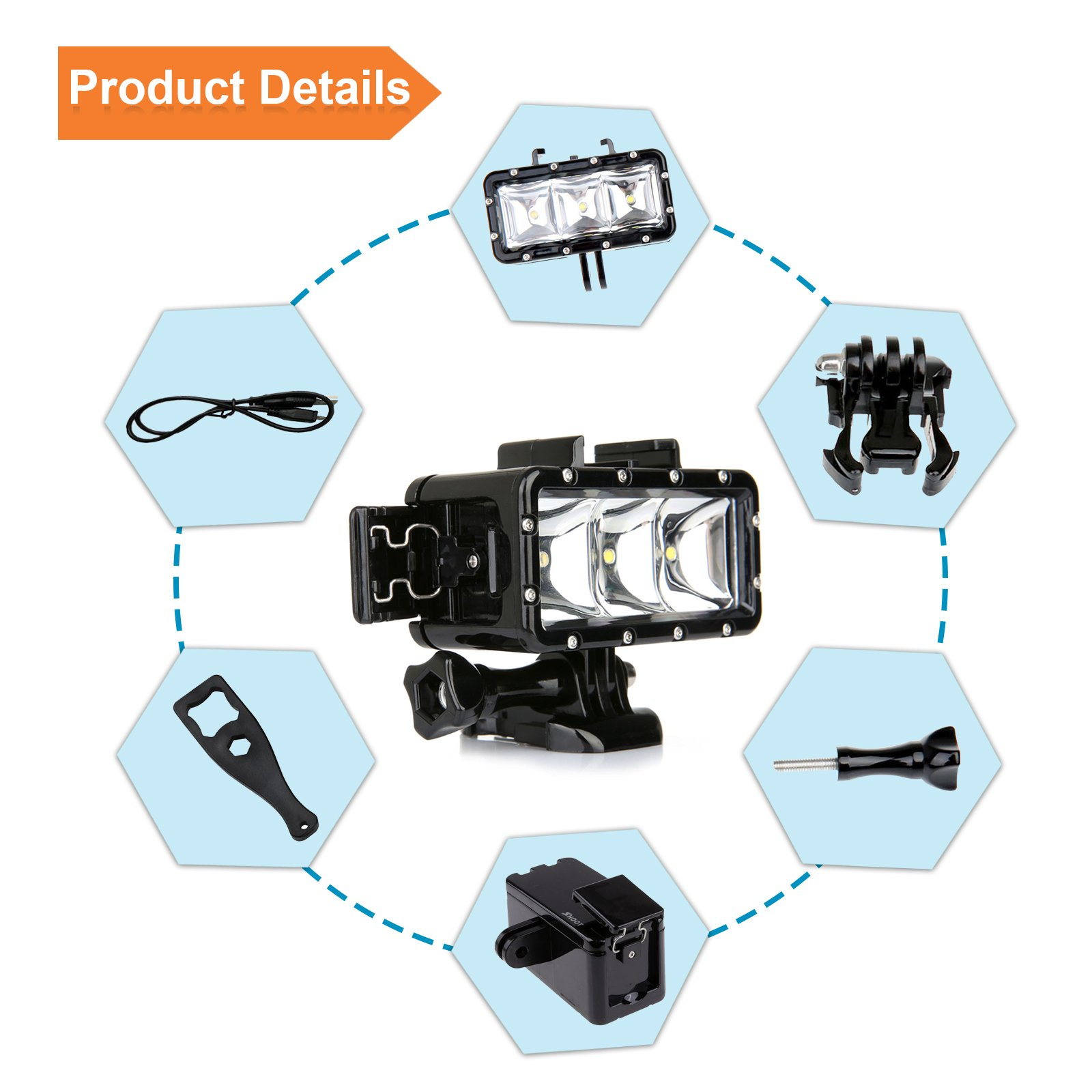 SHOOT Waterproof 30m Diving Light High Power Dimmable LED Underwater Fill Light for GoPro Hero 6/5/5S/4/4S/3+,Campark AKASO DBPOWER Crosstour SHOOT Camera with 1200mAh Built-in Rechargeable Battery by SHOOT (Image #5)