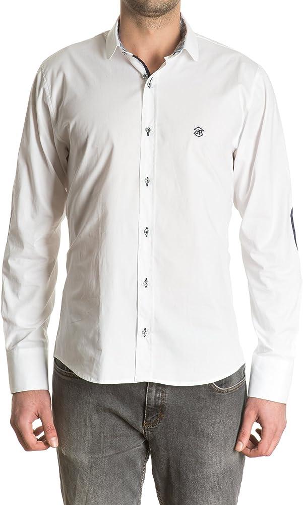 Di Prego - Camisa Blanca De Hombre Manga Larga Con Coderas. Cuello Mao Y Puños Reversibles Estampado Con Botones Para Ajustar El Ancho (Incluye Dos Cuellos Más Diferentes Desmontables), Talla M: Amazon.es:
