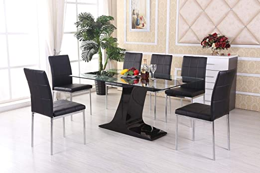 H Range UK Chelsea - Mesa de Comedor (Cristal, 6 sillas de Piel ...