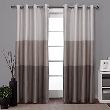 exclusive home curtains chateau striped faux silk grommet top window curtain panel pair taupe