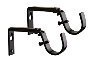 Meriville Set of 2 Oil-Rubbed Bronze Curtain Drapery Rod Bracket for 1-Inch and 1 1/8-Inch Rod, Adjustable