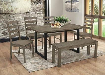 Amazoncom WE Furniture Madison Piece Wood Dining Set Aged Grey - Aged wood dining table