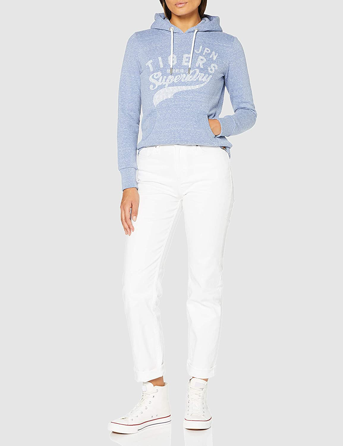 Superdry Damen Rw Classics Hood Hooded Sweatshirt Light Blue Snowy
