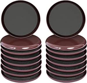 Ezprotekt 16 Pack Reusable Furniture Slider for Carpet,3.5 Inch Round Brown Furniture Mover,Furniture Sliders Carpet Sliders Furniture Moving Sliders Furniture Moving Pads Furniture Glides